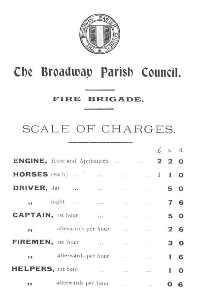 Broadway Parish Council scale of charges for fire brigade
